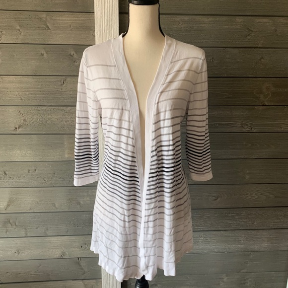 WHBM white cardigan black & gray stripes sz large